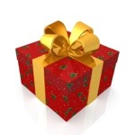 pucture of a gift with red wrapping paper abd a gold ribbon